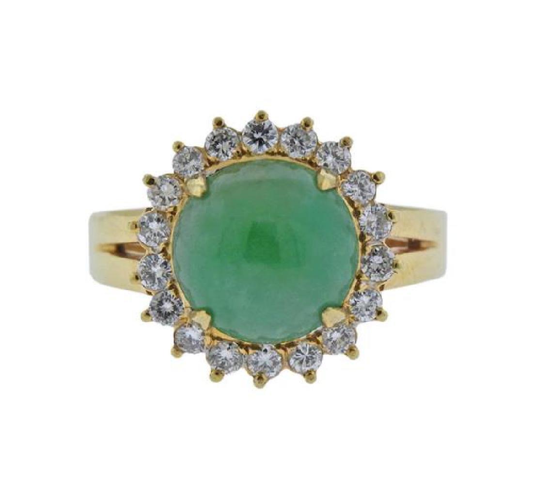 18K Gold Diamond Jade Ring