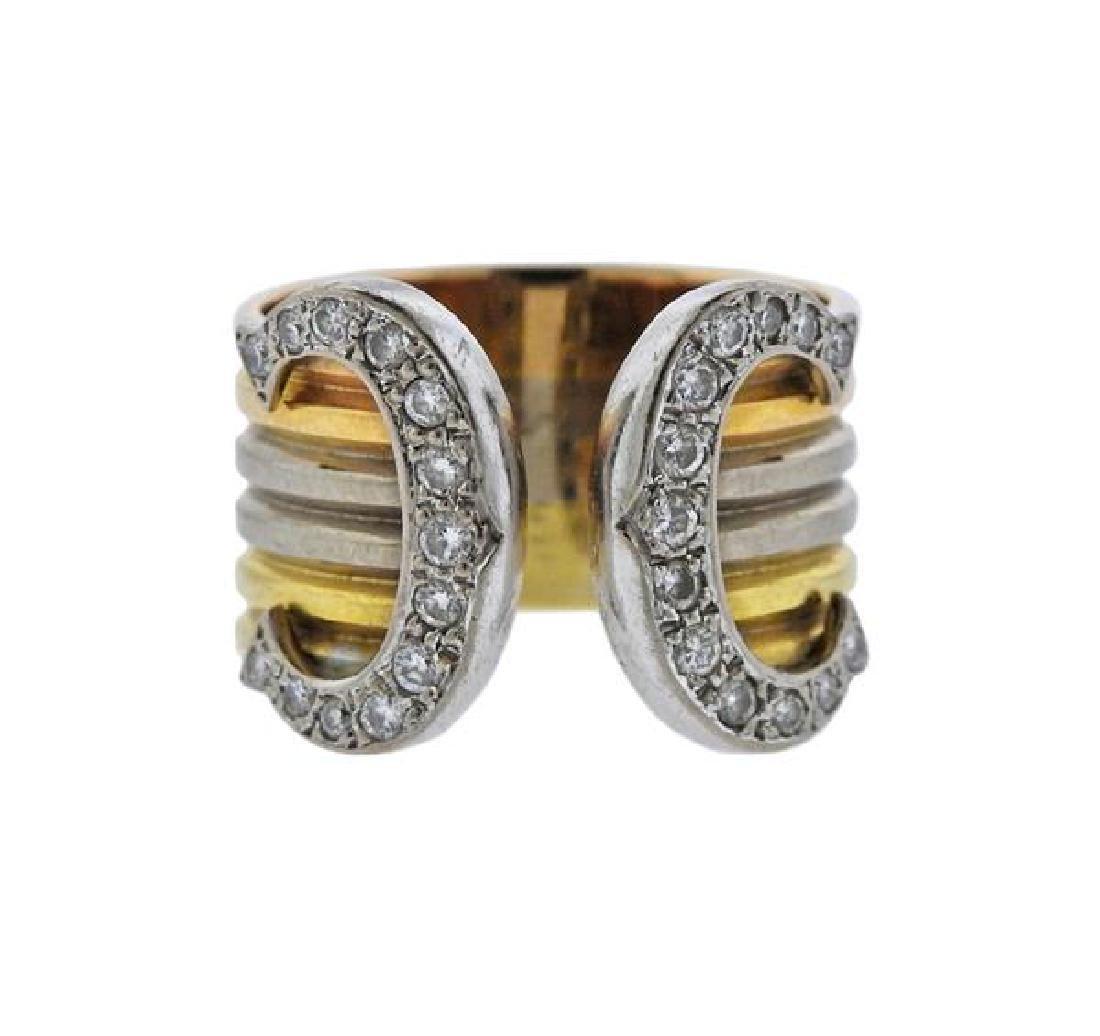 Cartier 18K Gold Diamond CC Cuff Ring