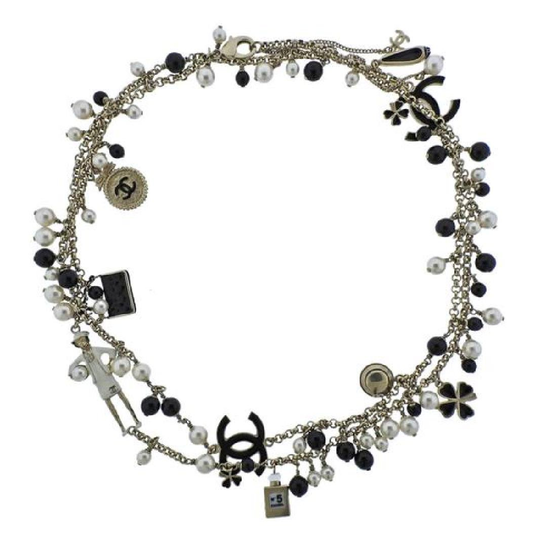 Chanel Black Stone Pearl Costume Charm Long Necklace
