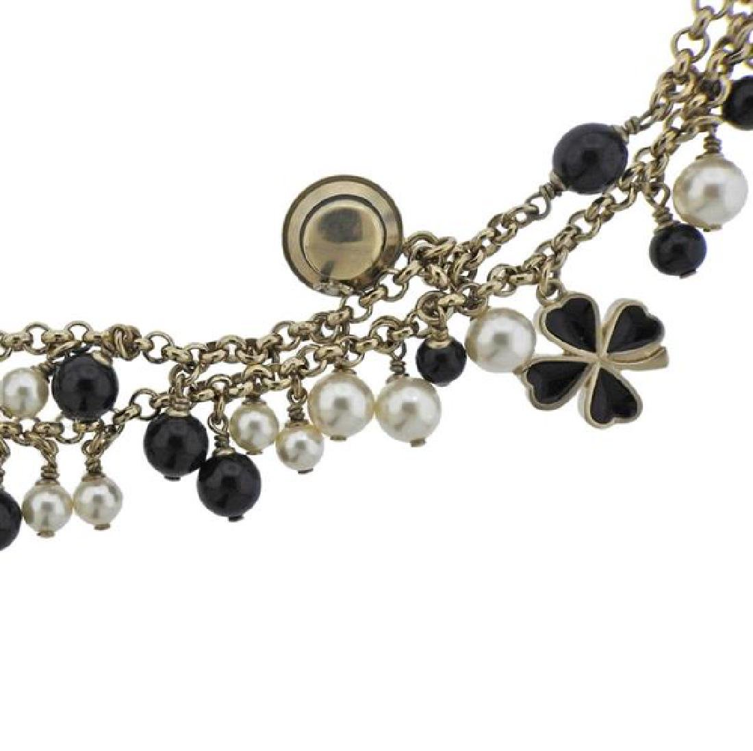 Chanel Black Stone Pearl Costume Charm Long Necklace - 2