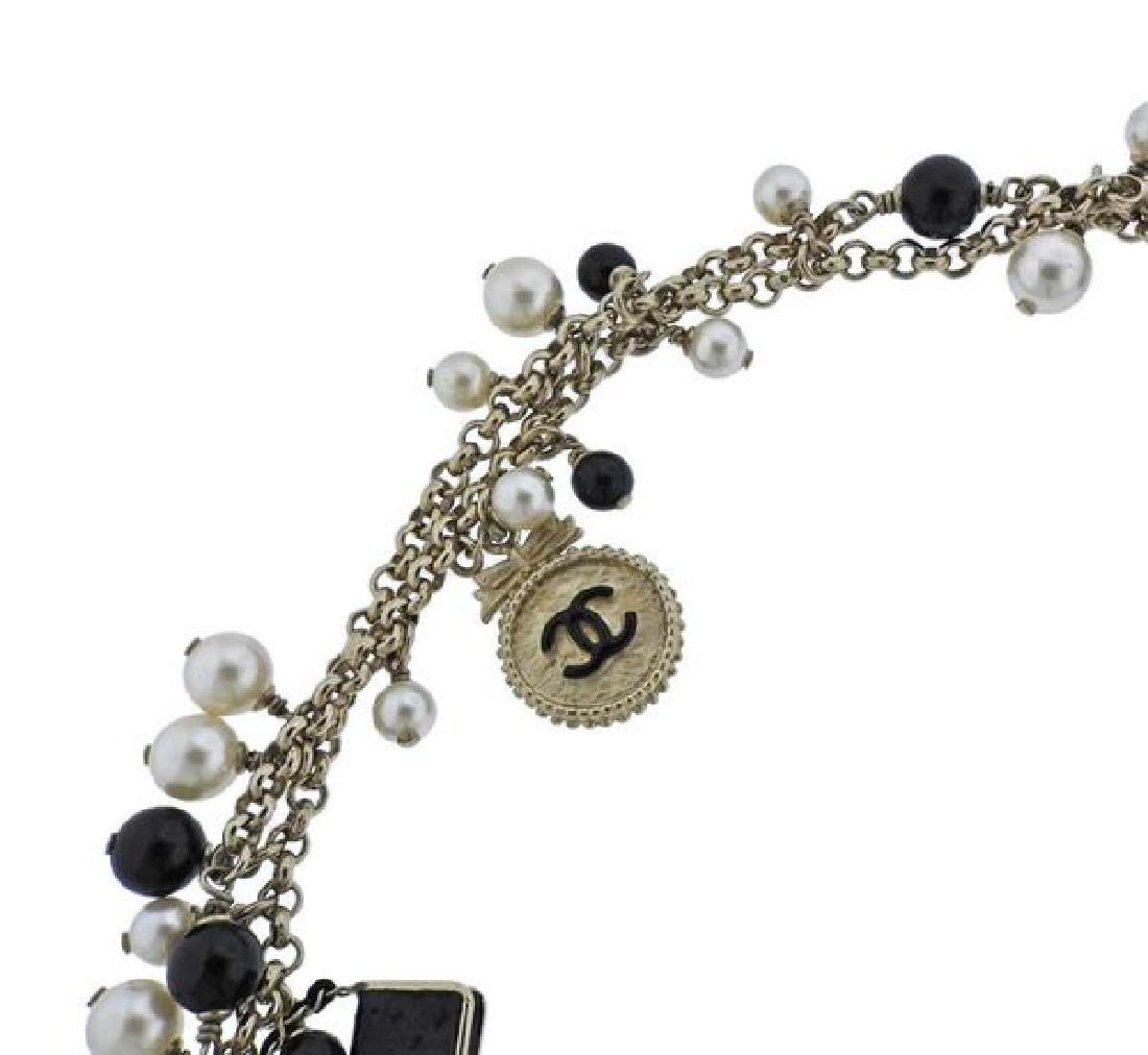 Chanel Black Stone Pearl Costume Charm Long Necklace - 3