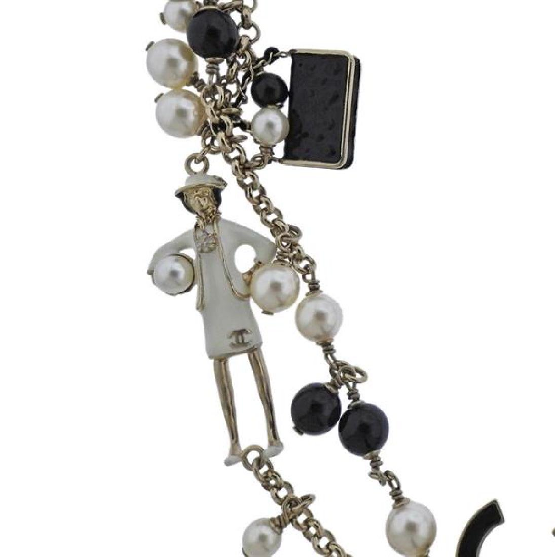 Chanel Black Stone Pearl Costume Charm Long Necklace - 4
