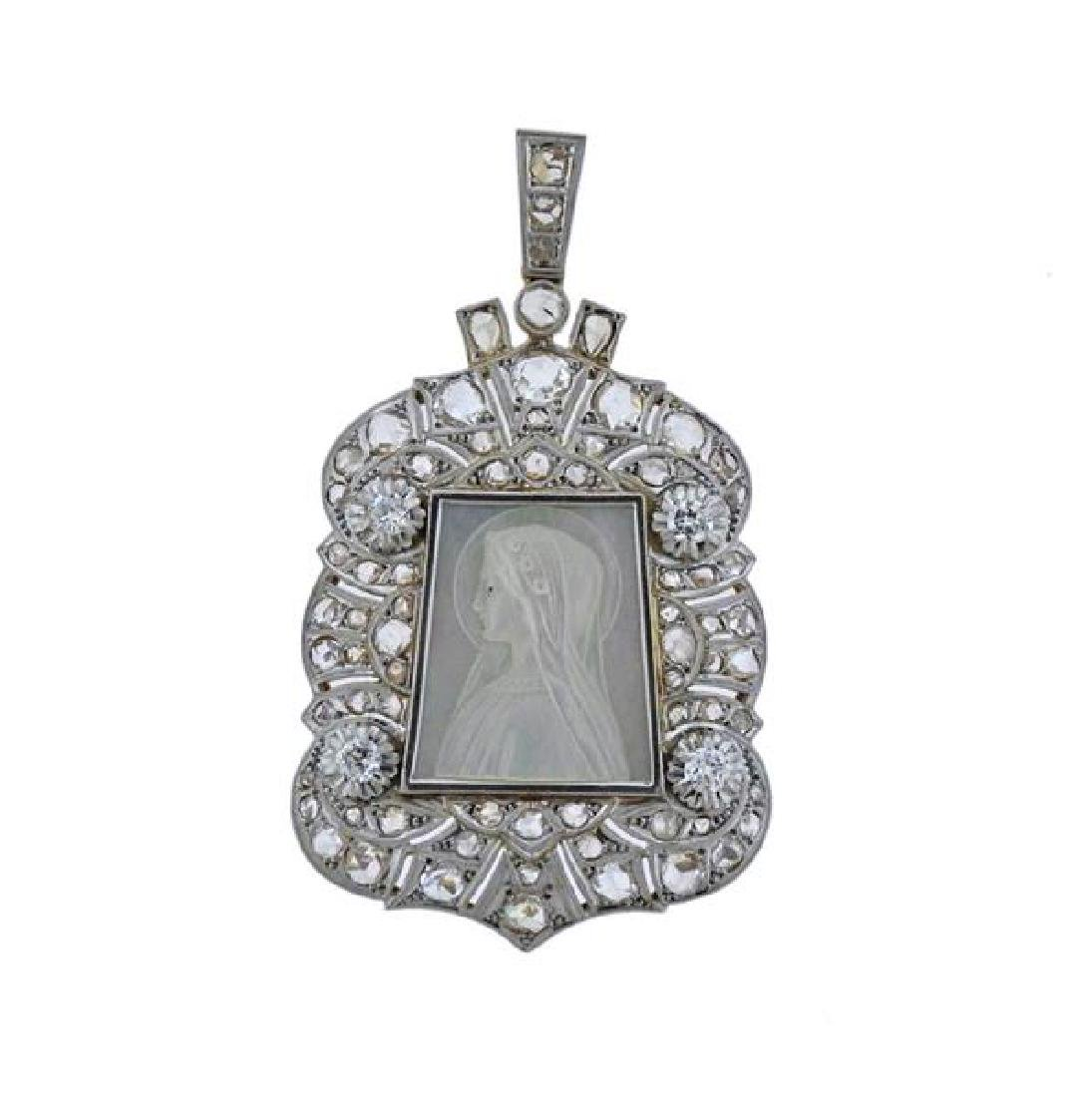 Platinum Gold Diamond MOP St. Mary Pendant