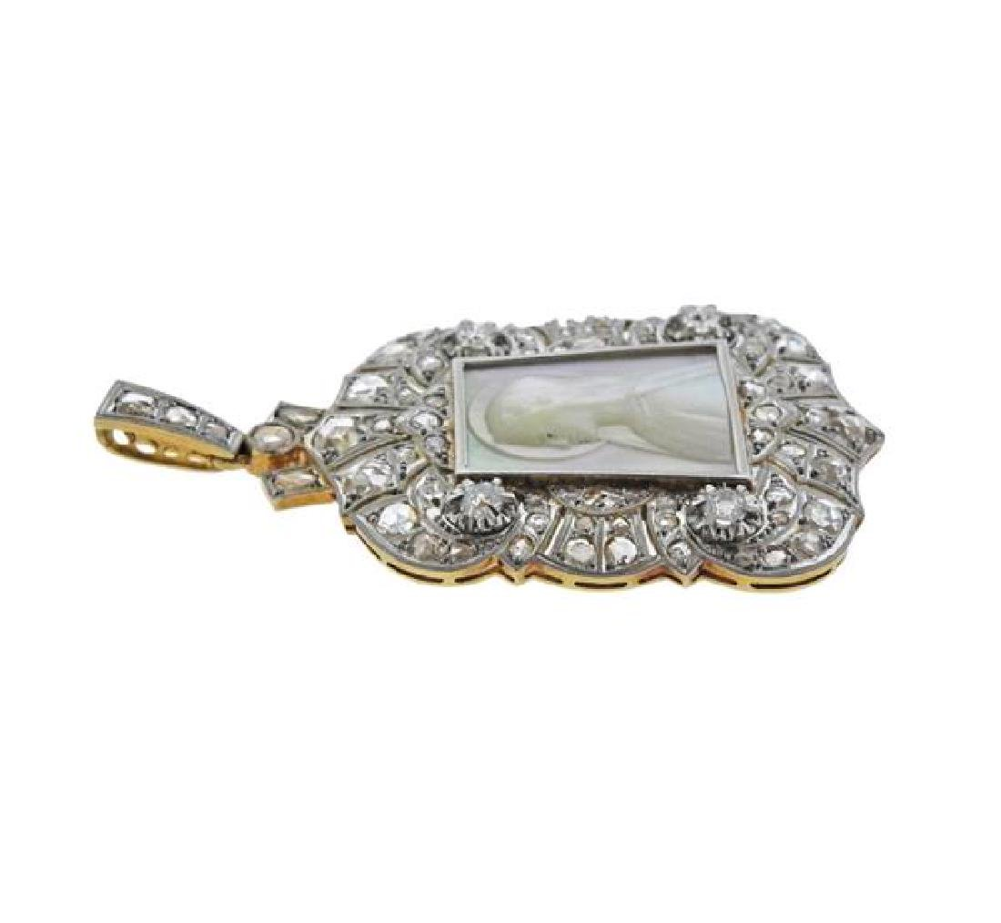 Platinum Gold Diamond MOP St. Mary Pendant - 2