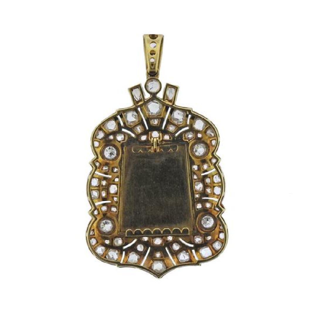Platinum Gold Diamond MOP St. Mary Pendant - 3