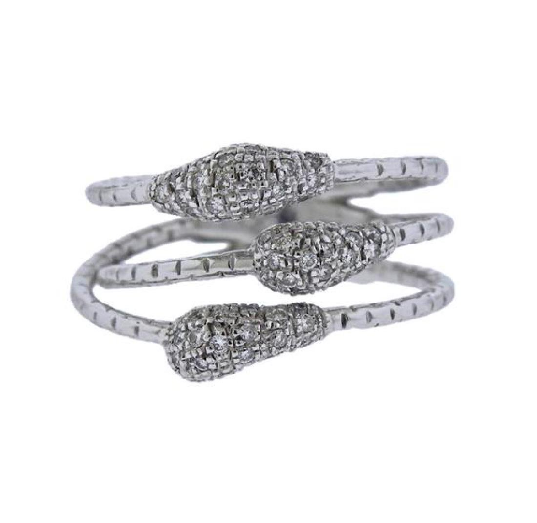 18K Gold Diamond Three Row Ring