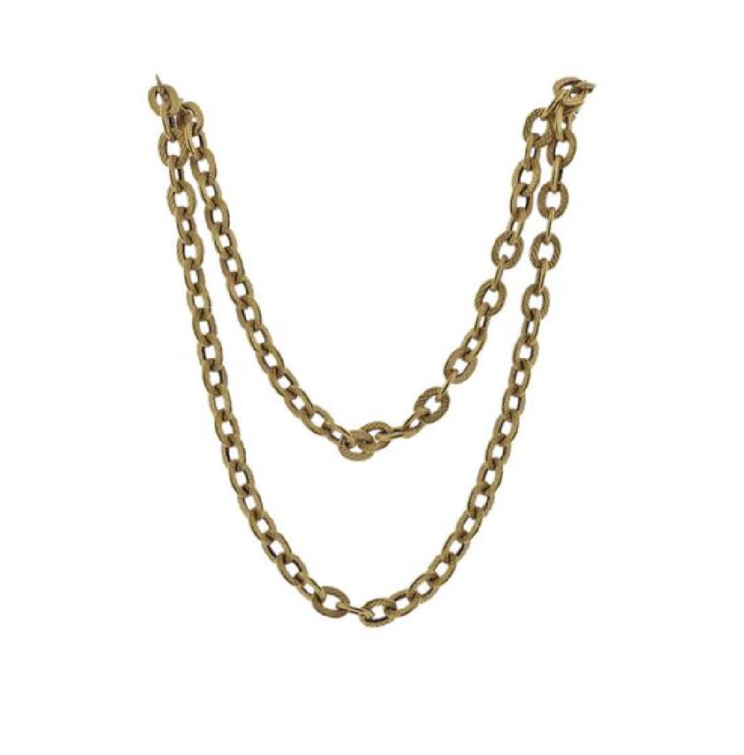 18K Gold Link Chain Necklace - 2