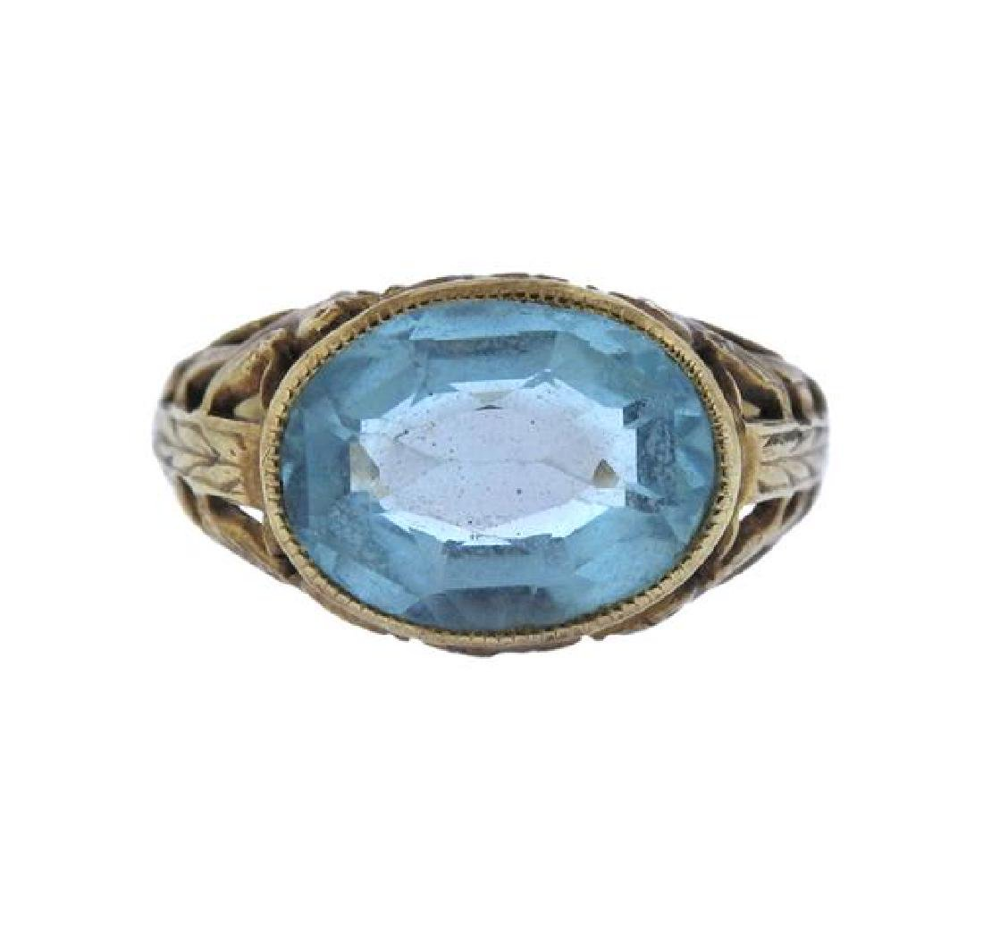 Antique 10K Gold Blue Gemstone Ring