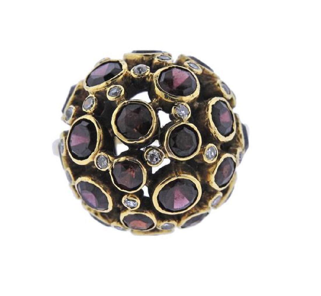 18K Gold Diamond Garnet Dome Ring