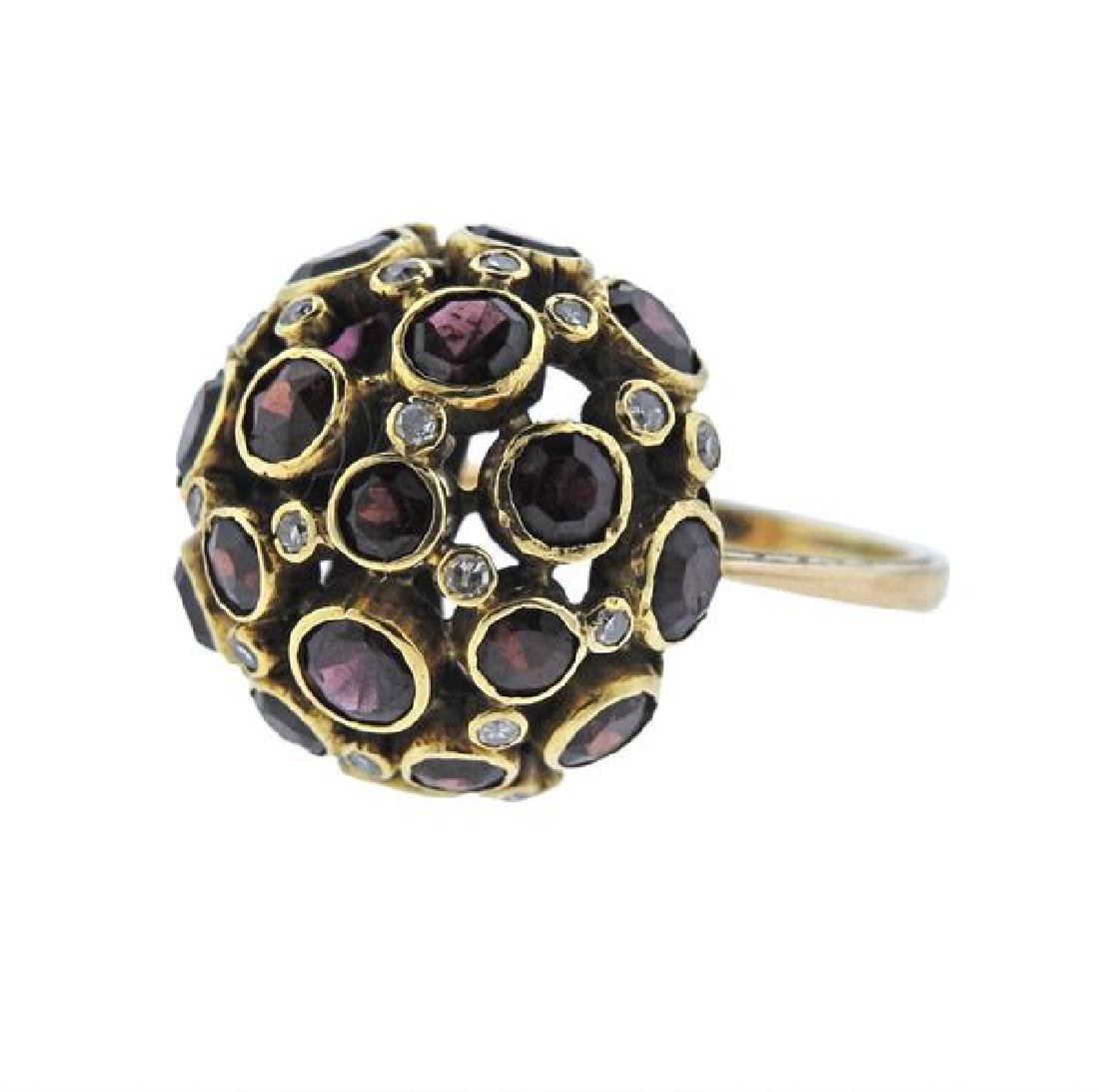 18K Gold Diamond Garnet Dome Ring - 2