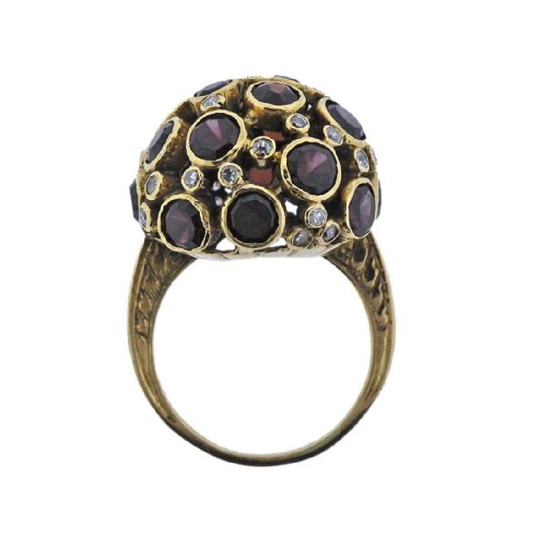 18K Gold Diamond Garnet Dome Ring - 4