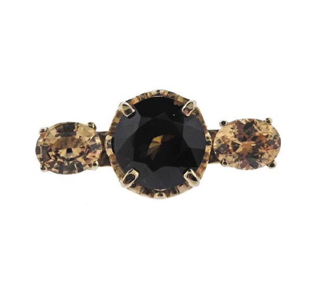 14K Gold Brown Yellow Gemstone Vrooch