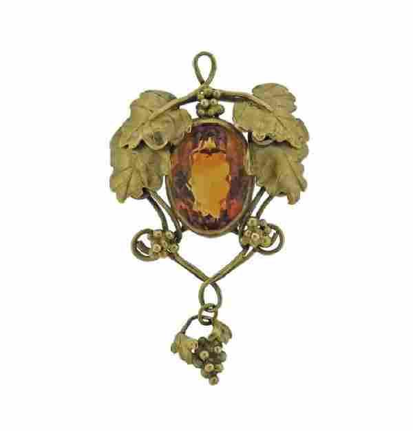 Art Nouveau 14K Gold Orange Gemstone Brooch Pendant
