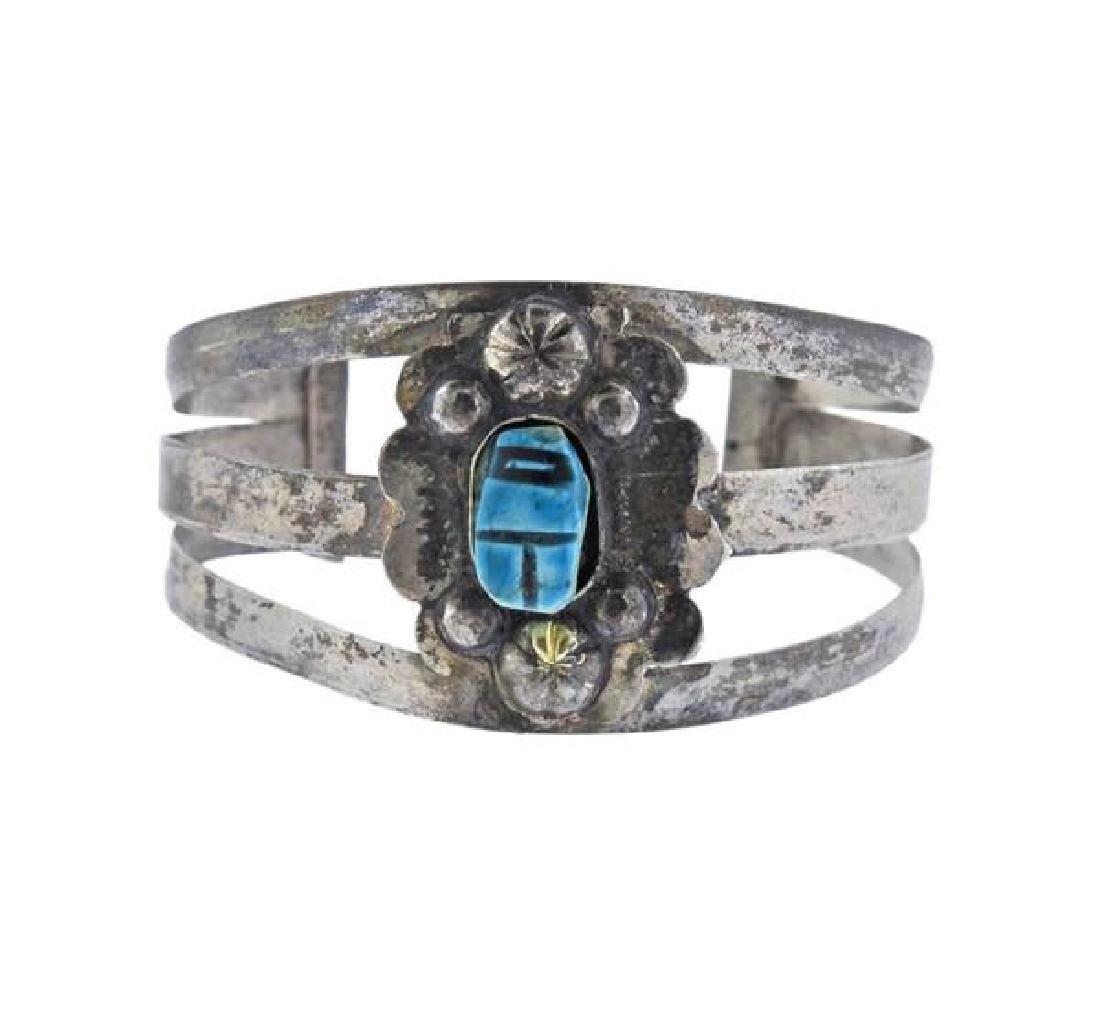 Silver Scarab Cuff Bracelet