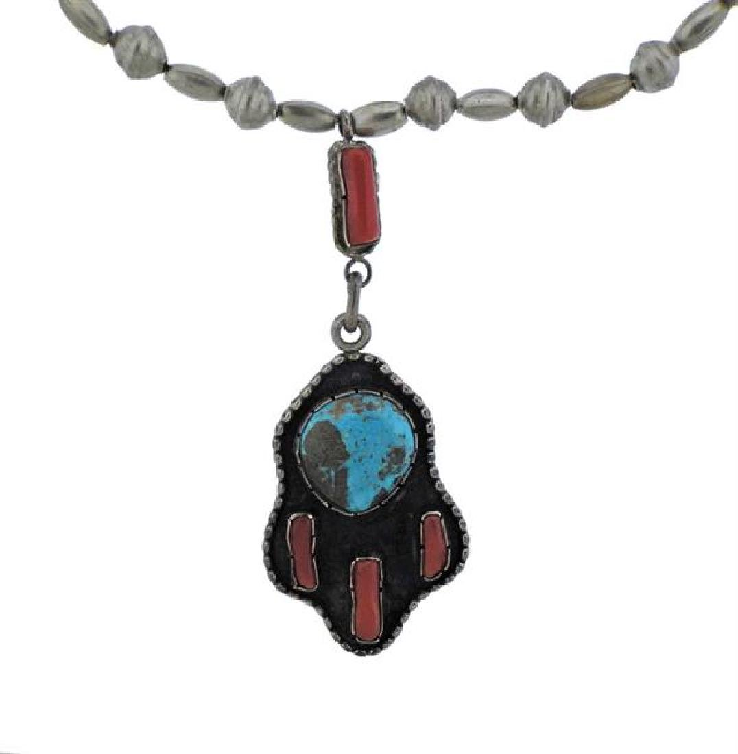Sterling Silver Color Gemstone Pendant Necklace - 2