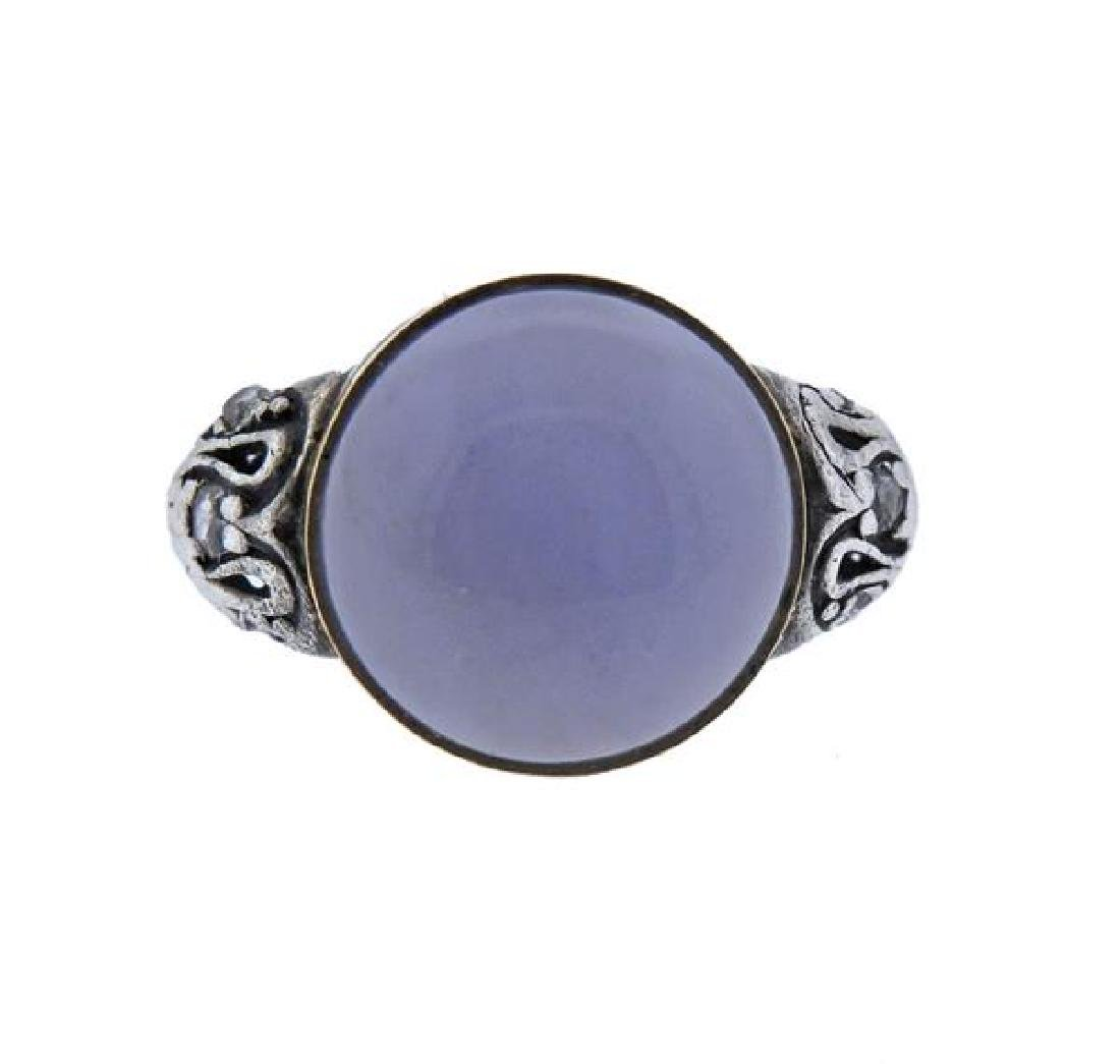 Antique 14K Gold Silver Diamond Chalcedony Rong