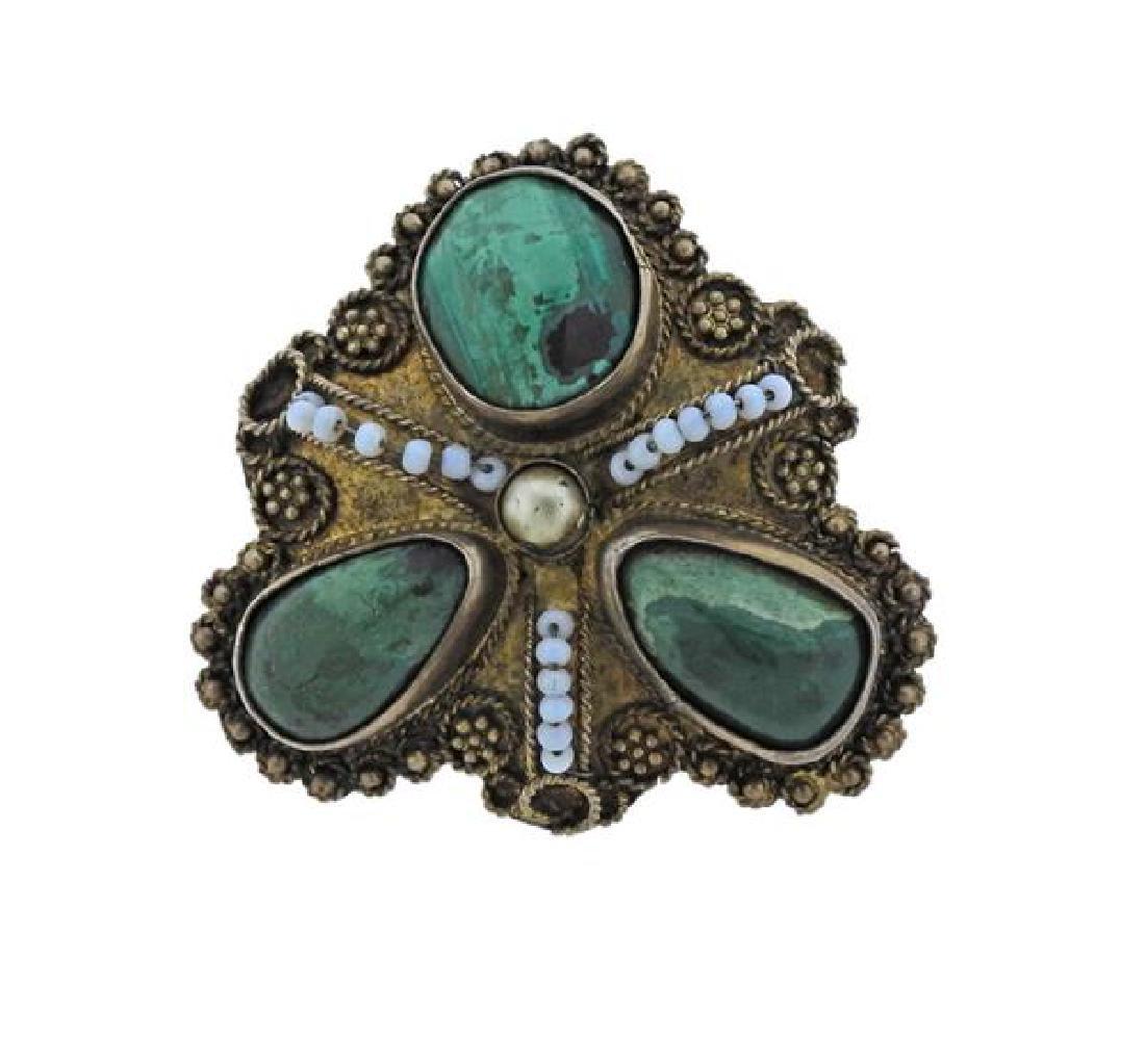 Vintage Israel Sterling Green Gemstone Brooch Pendant