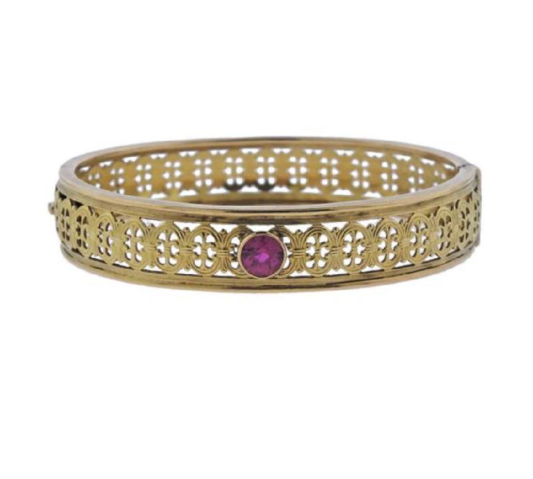 14K Gold Pink Gemstone Bangle Bracelet