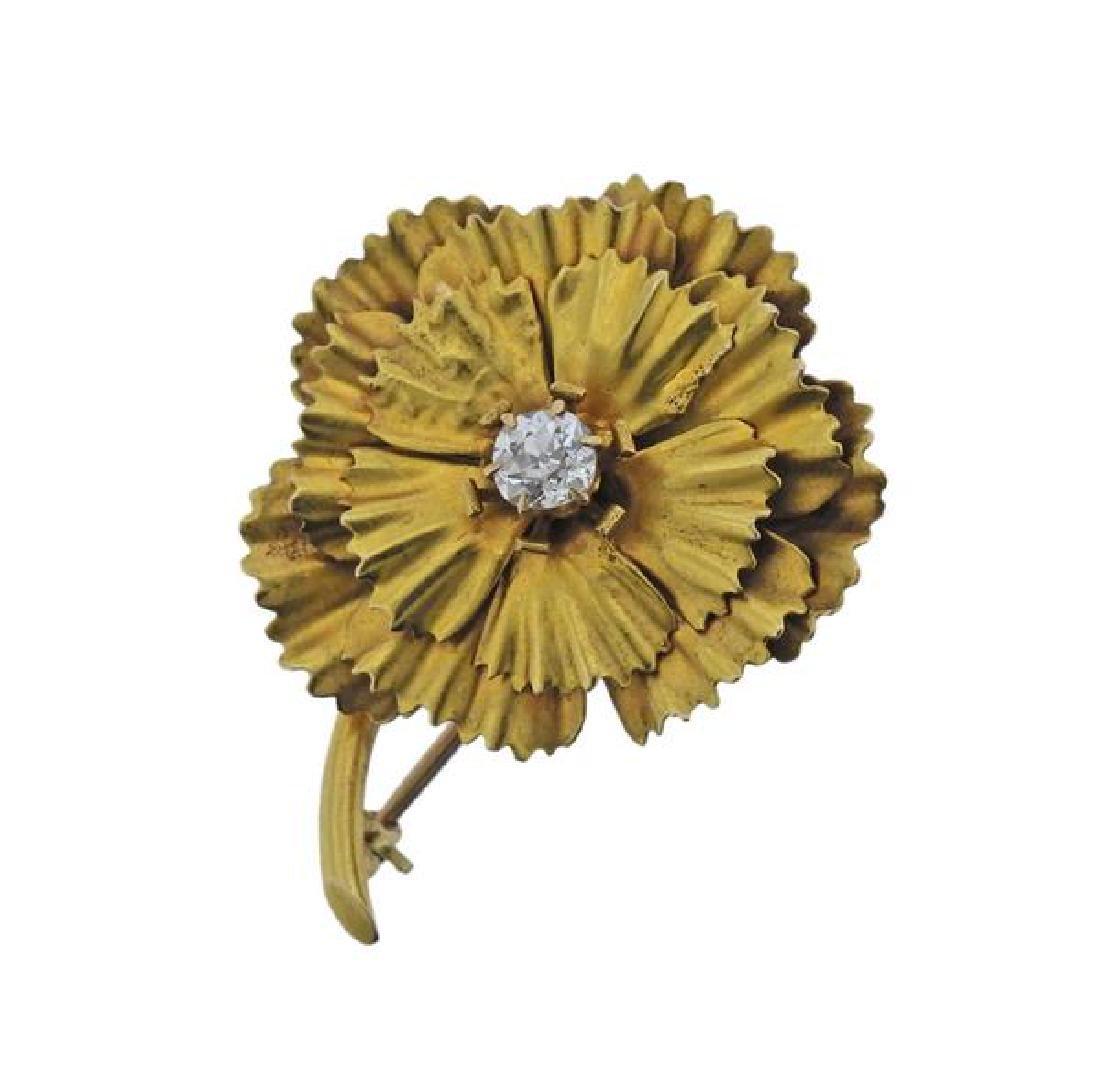 14K Gold Diamond Flower Brooch Pin
