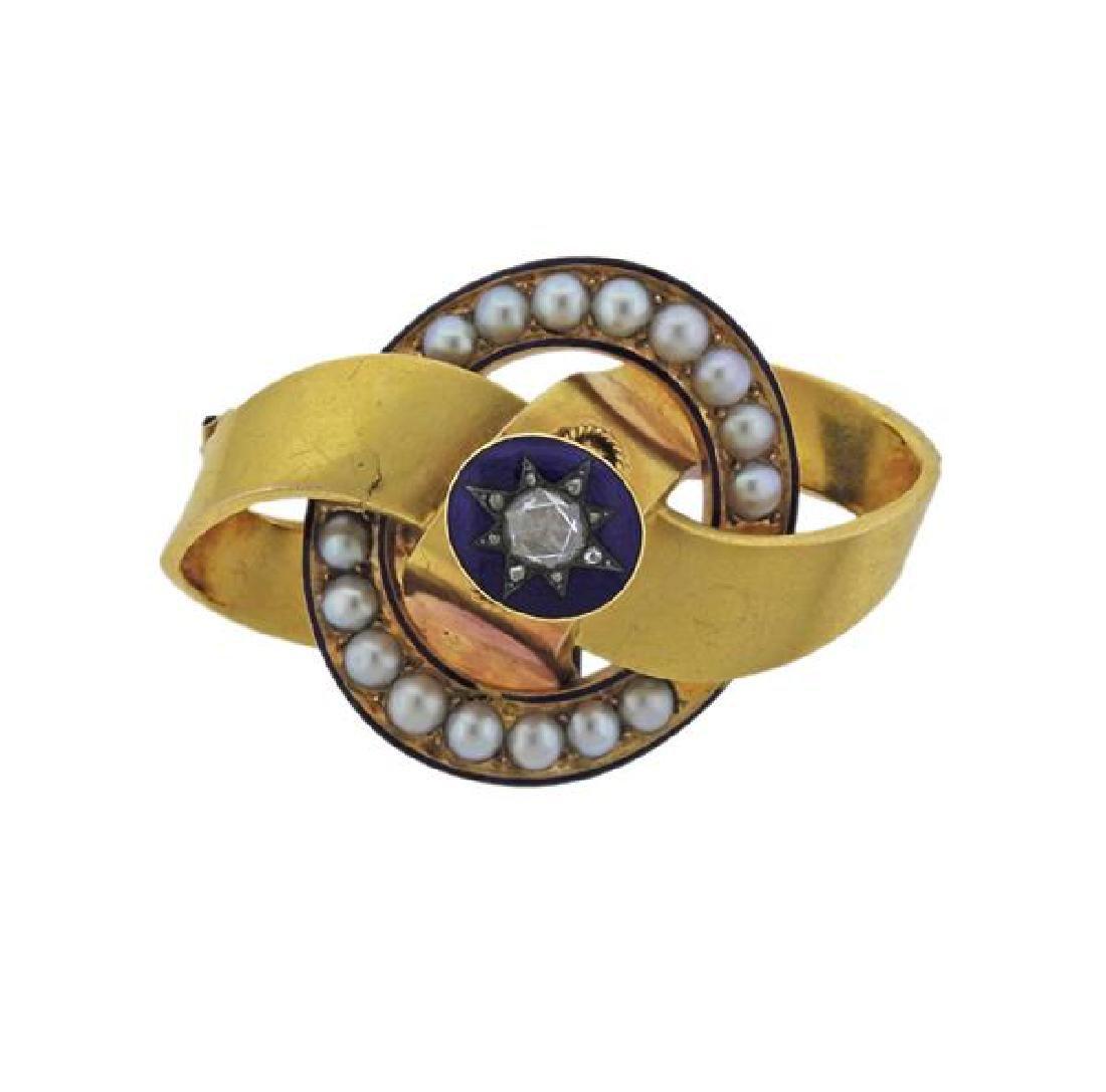 Victorian Gold Diamond Pearl Enamel Brooch Pendant