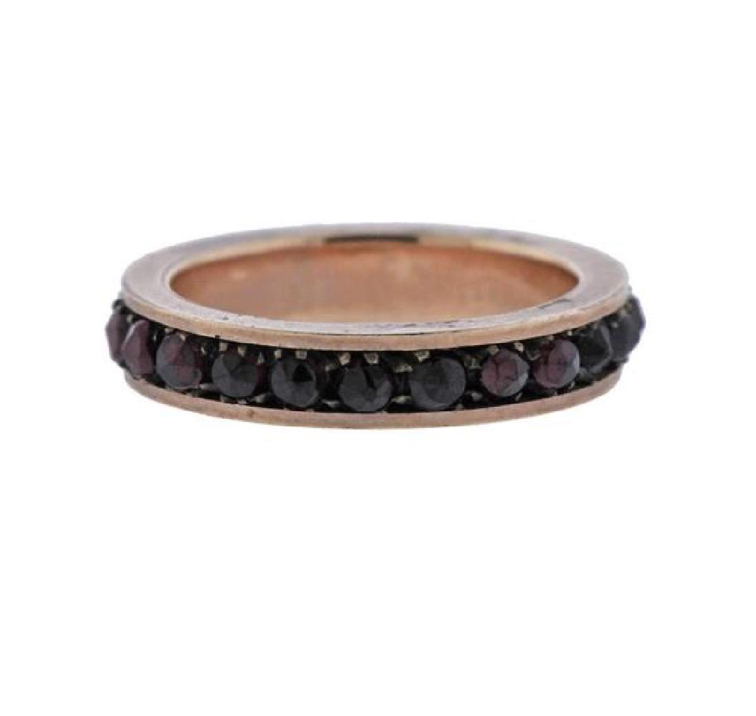 Antique 14K Gold Garnet Eternity Band Ring