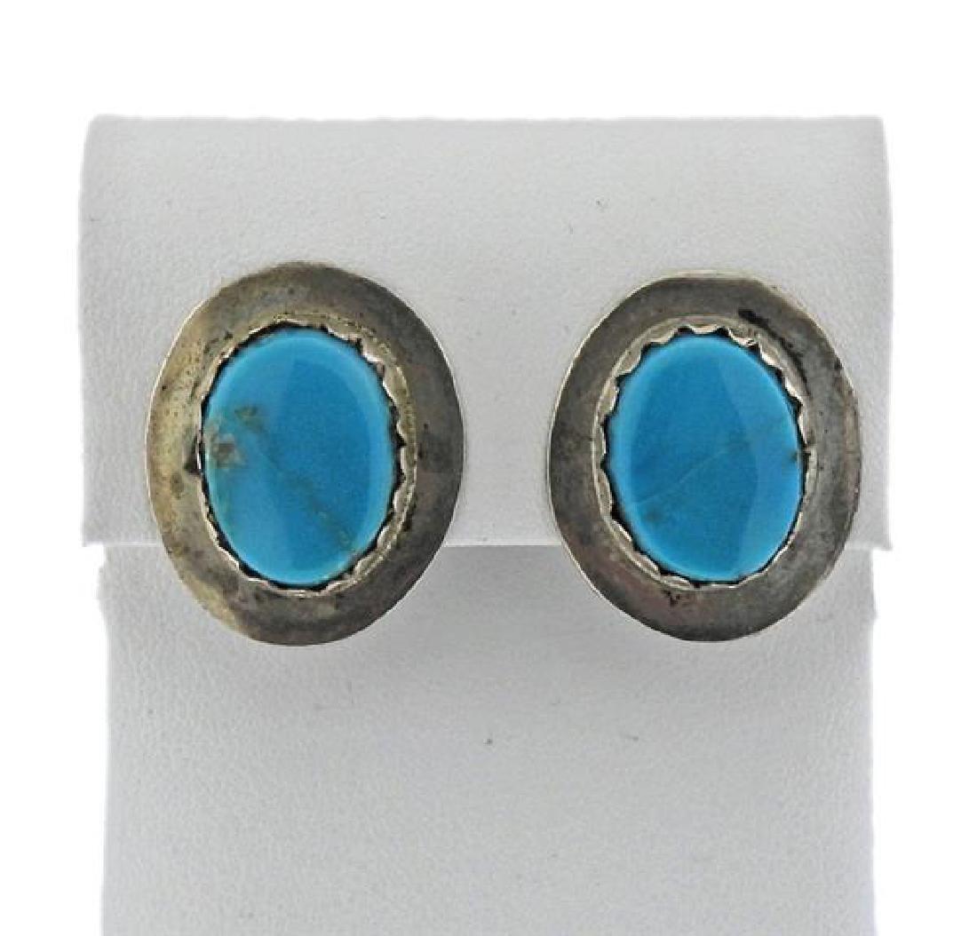 Juan Pedro Garcia Navajo Sterling Turquoise Earrings