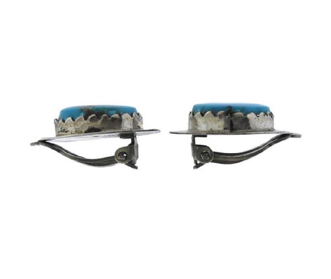 Juan Pedro Garcia Navajo Sterling Turquoise Earrings - 2