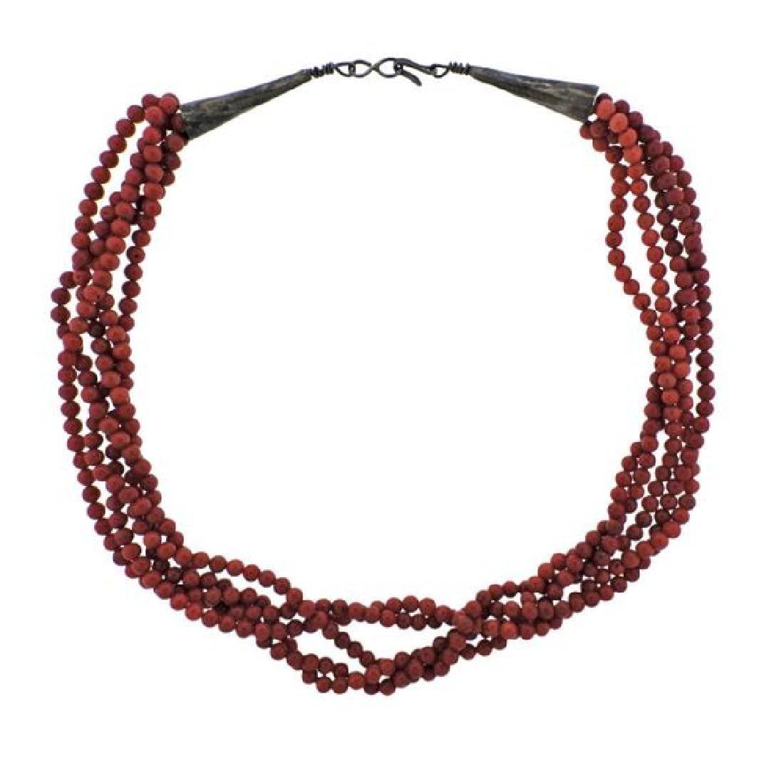 Sterling Coral 5 Strand Necklace