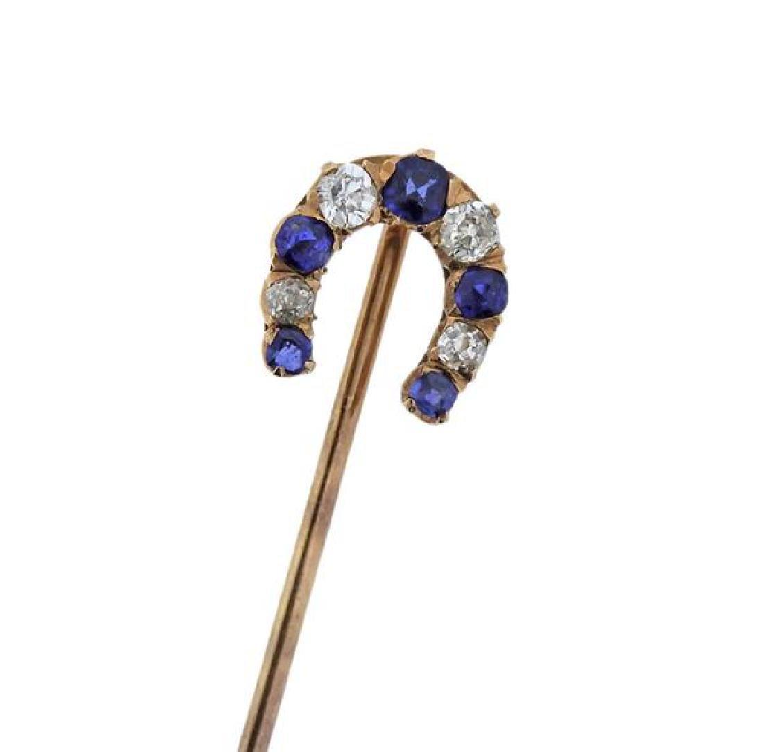 Antique 14K Gold Diamond Blue Gemstone Stick Pin - 2