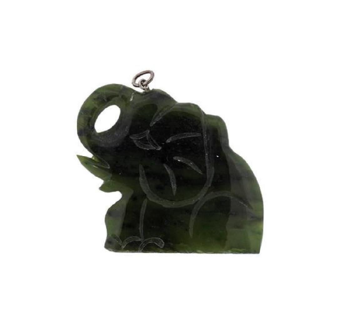 Carved Nephrite Elephant Pendant