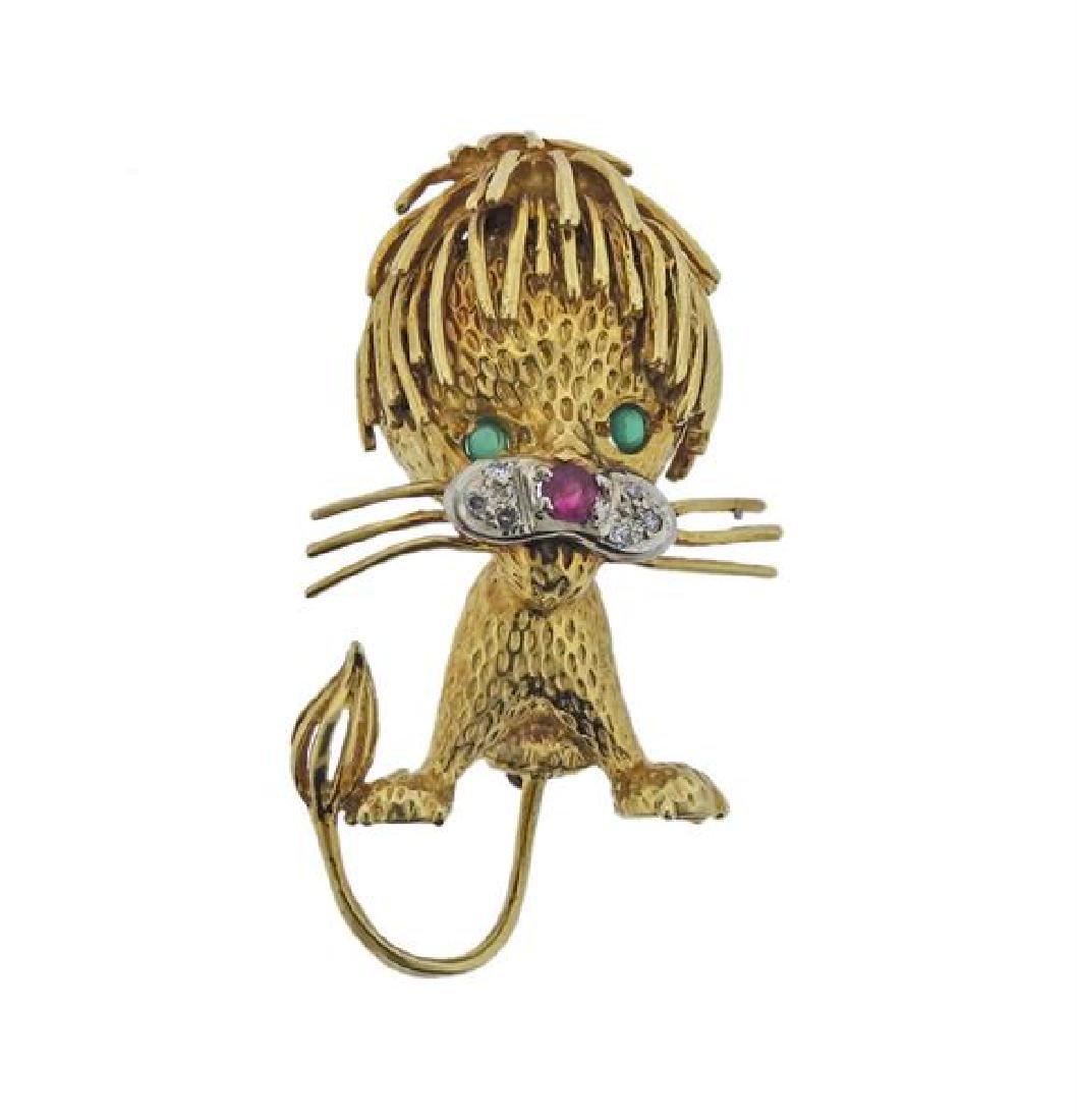 18K Gold Diamond Ruby Emerald Lion Brooch Pin