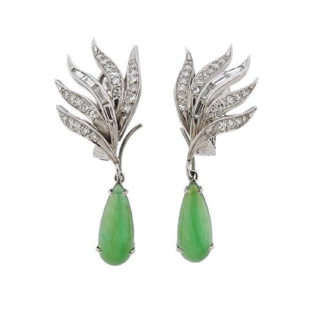 Platinum Diamond Jade Day Night Earrings