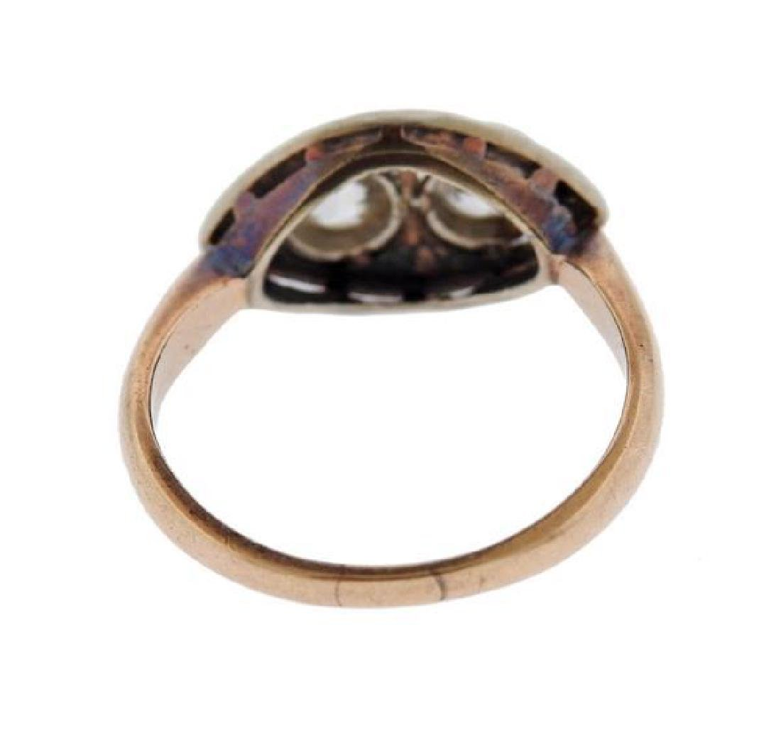 Art Deco 14K Gold Diamond Ring - 2