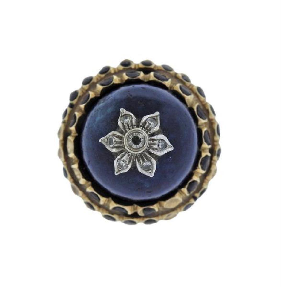 14K Gold Diamond Blue Hard Stone Enamel Ring - 2