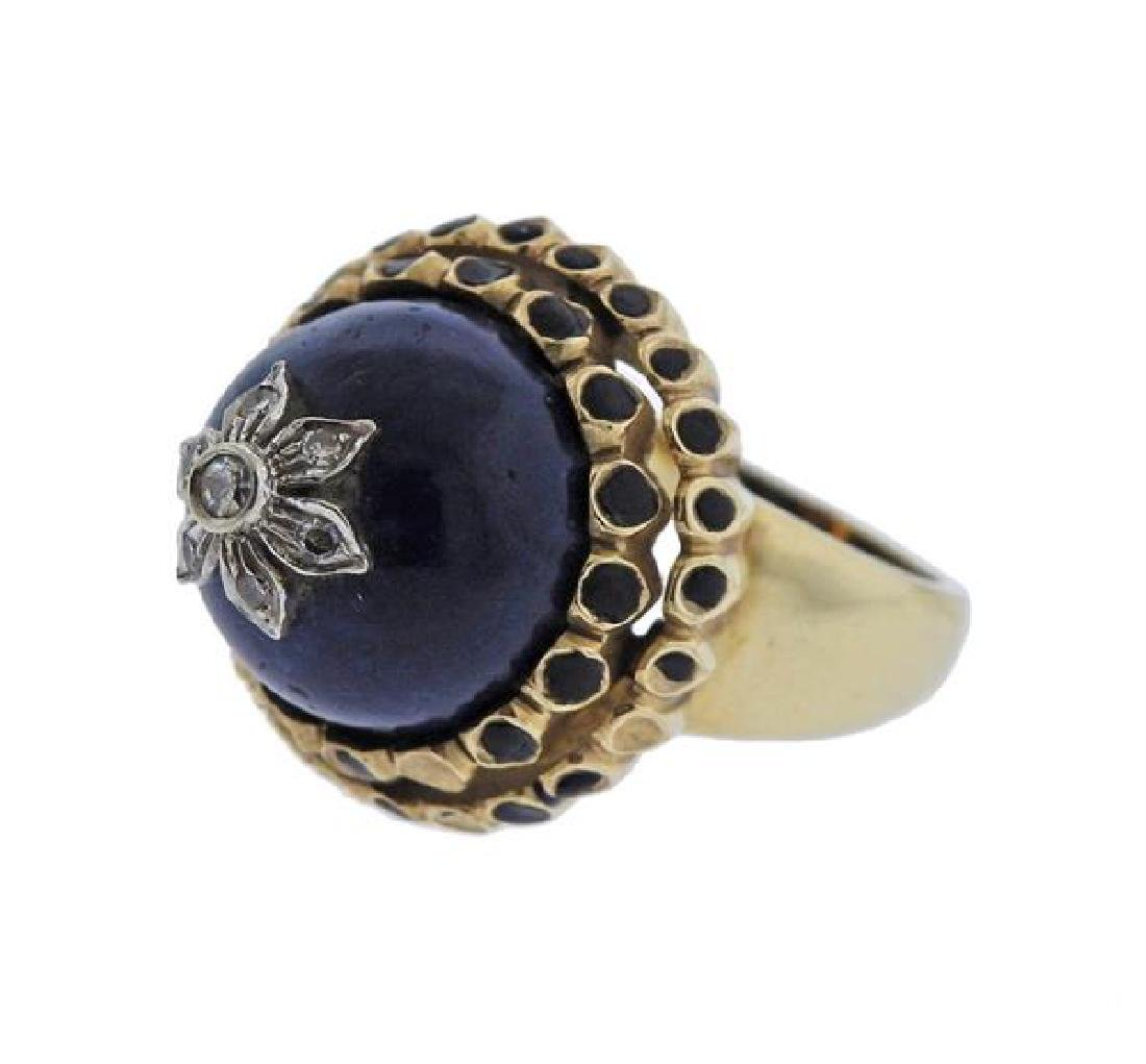 14K Gold Diamond Blue Hard Stone Enamel Ring - 3