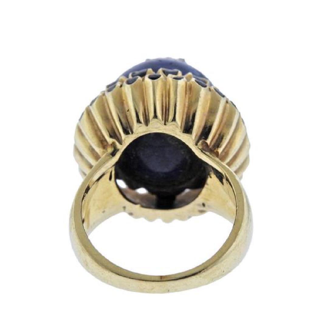 14K Gold Diamond Blue Hard Stone Enamel Ring - 4