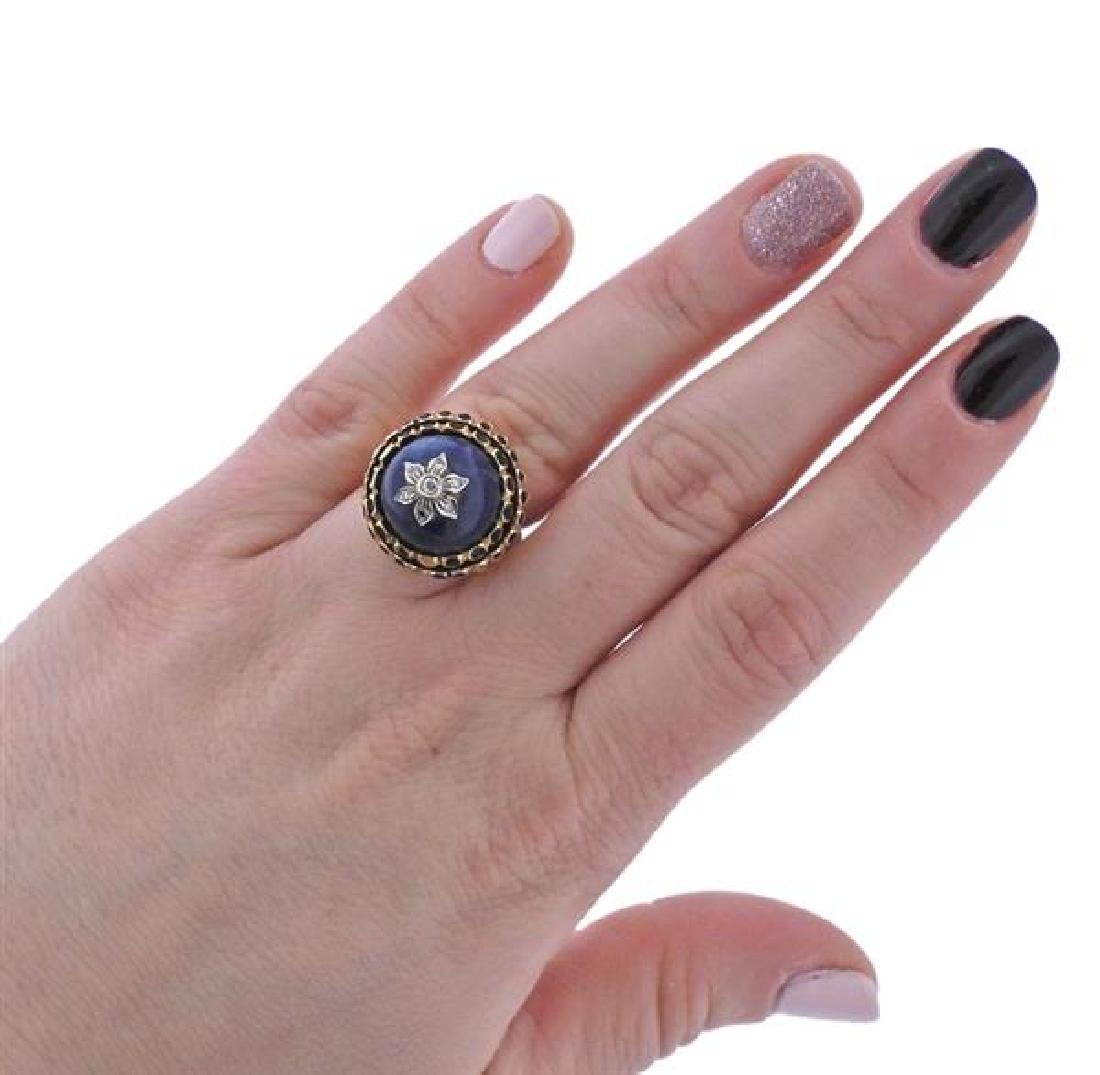 14K Gold Diamond Blue Hard Stone Enamel Ring - 5