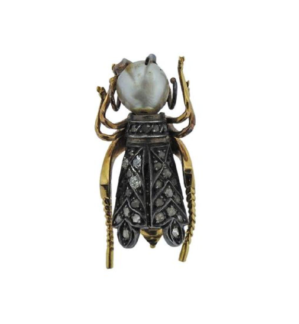 Antique 18K Gold Silver Diamond Pearl Insect Brooch