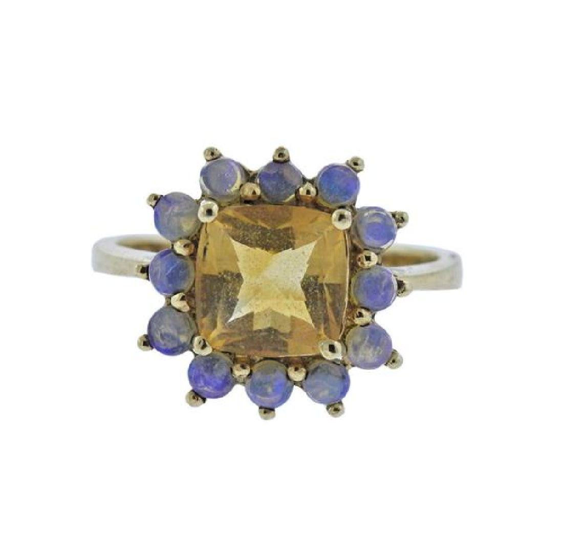 14K Gold Moonstone Yellow Gemstone Ring