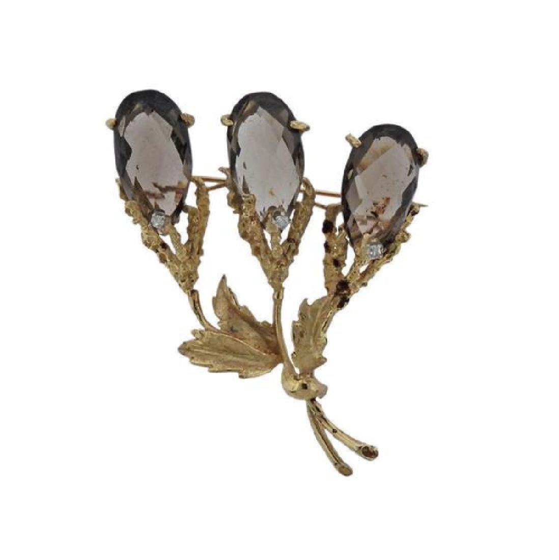 14K Gold Diamond Smoky Quartz Brooch