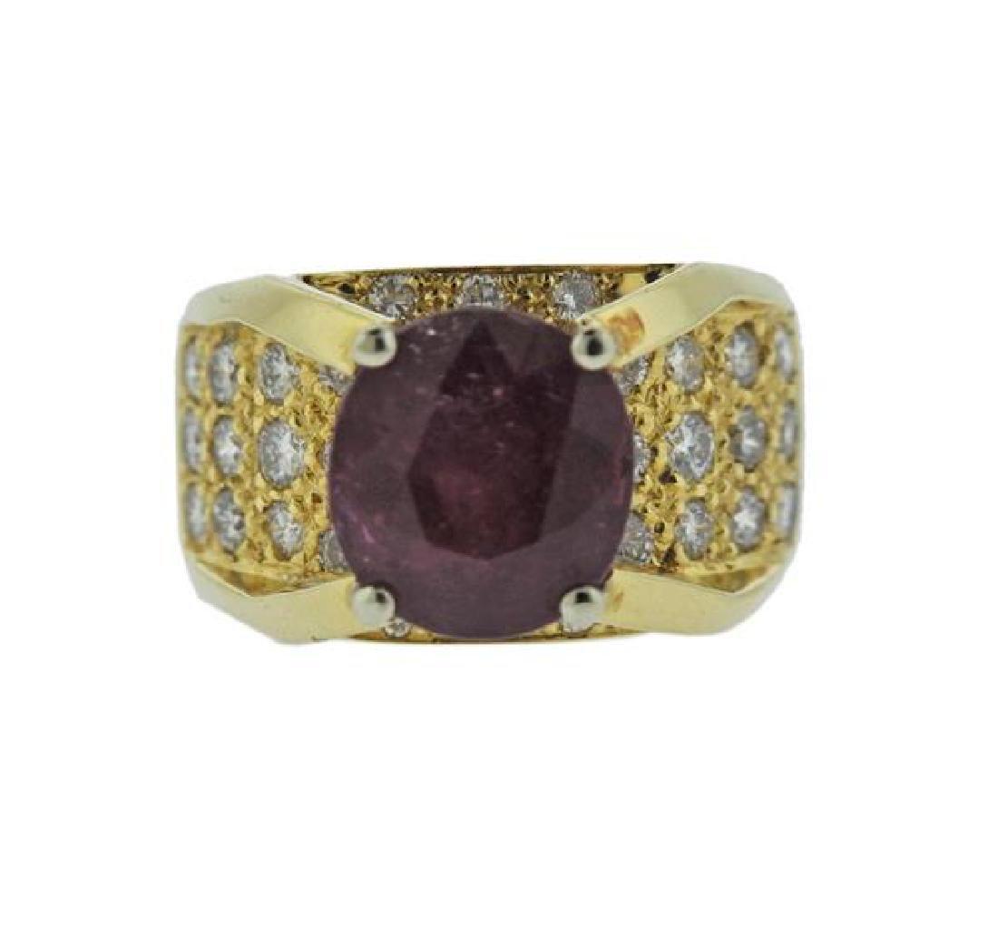 18K Gold Diamond Ruby Ring