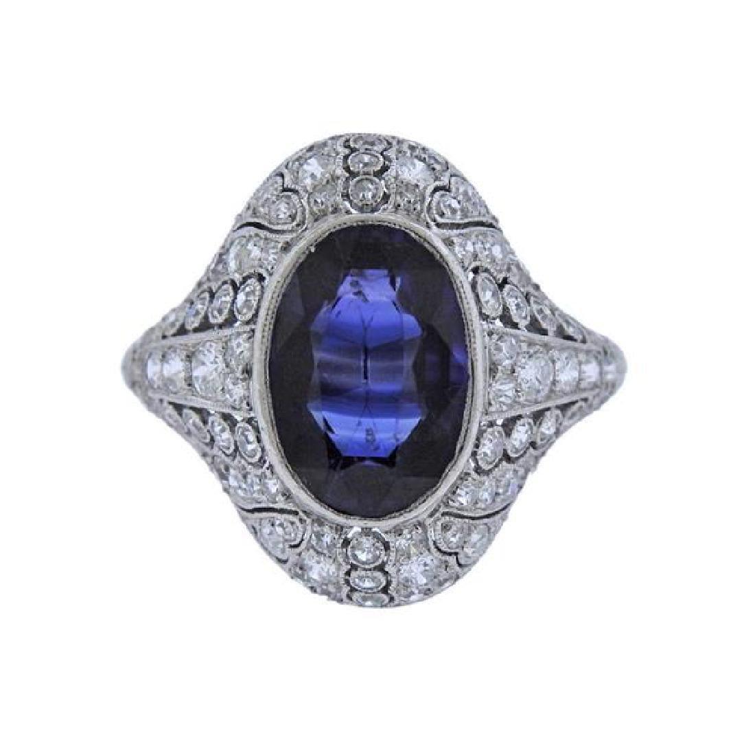 Art Deco Platinum Diamond Blue Stone Ring