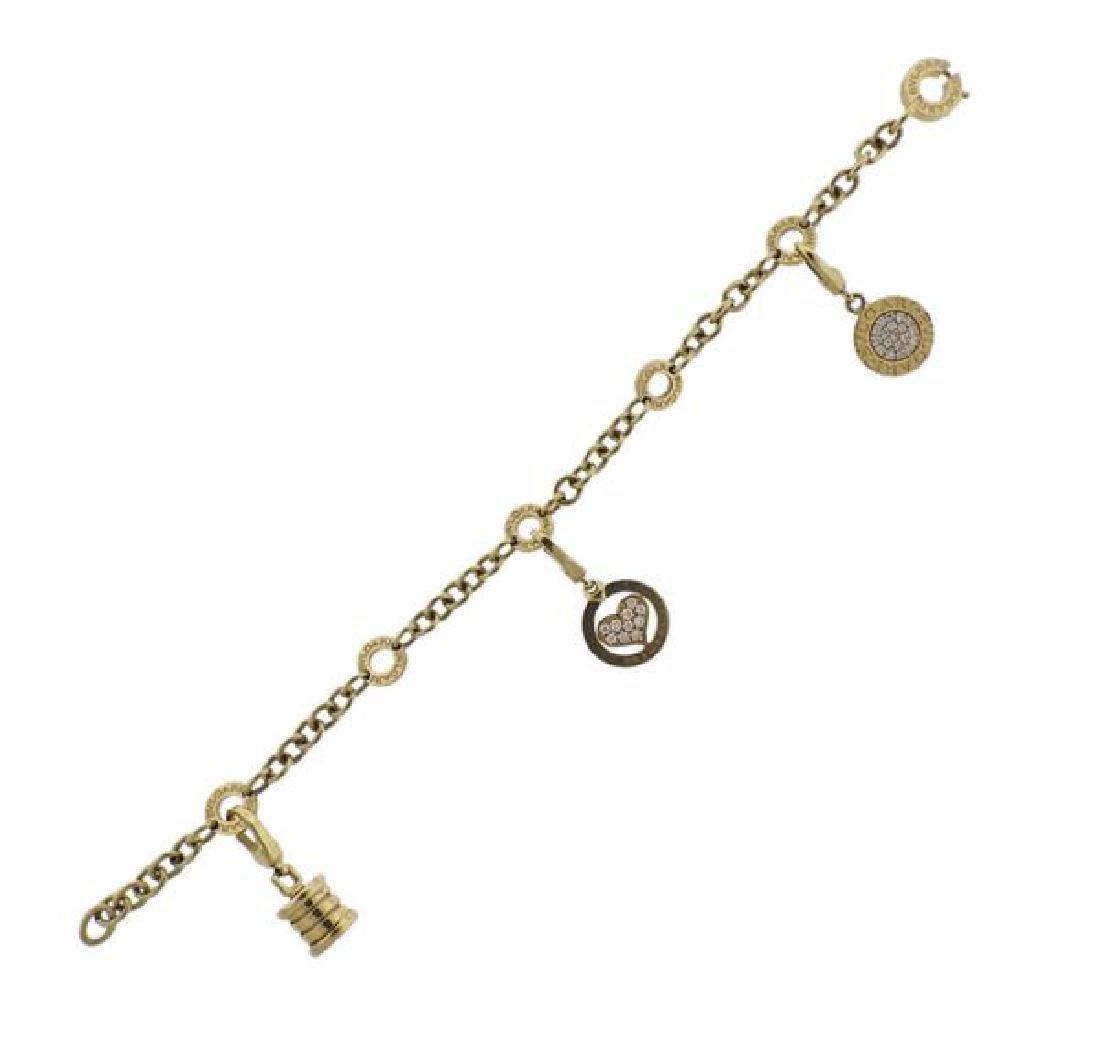 Bvlgari Bulgari Diamond 18k Gold Charm Bracelet