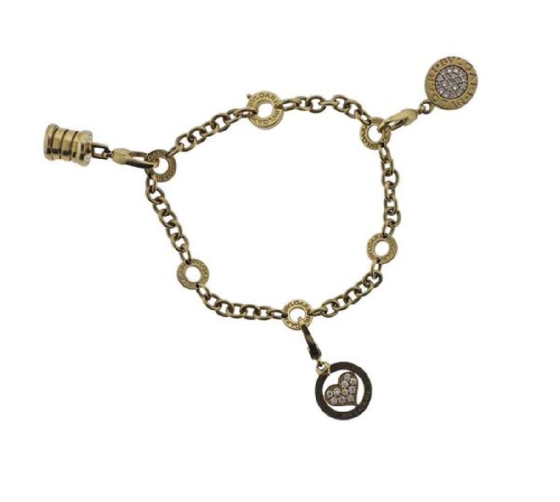 Bvlgari Bulgari Diamond 18k Gold Charm Bracelet - 2