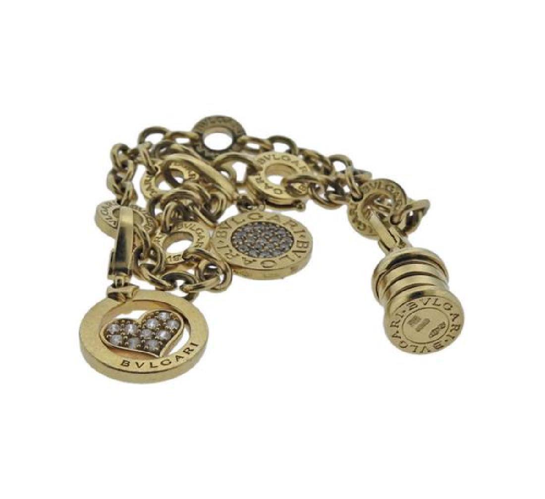Bvlgari Bulgari Diamond 18k Gold Charm Bracelet - 3