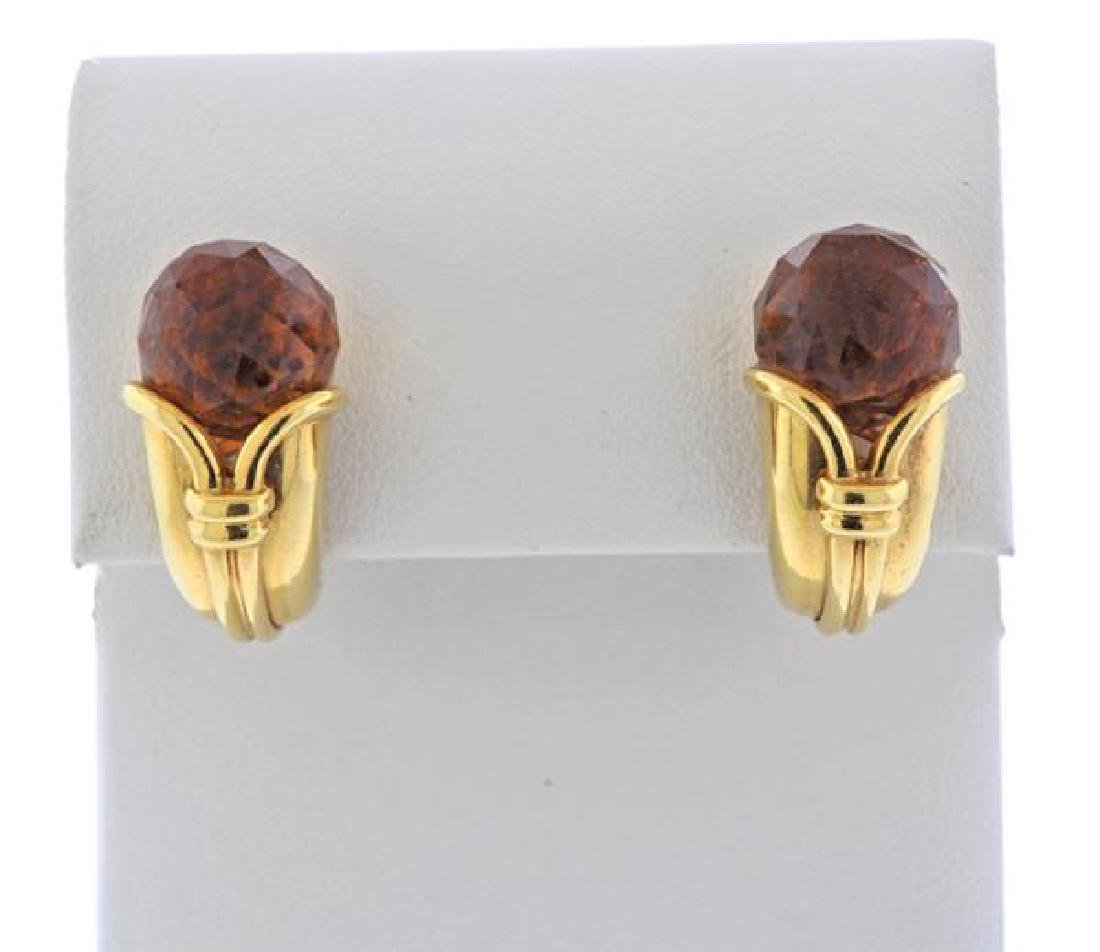 Bvlgari Bulgari Citrine 18k Gold Earrings