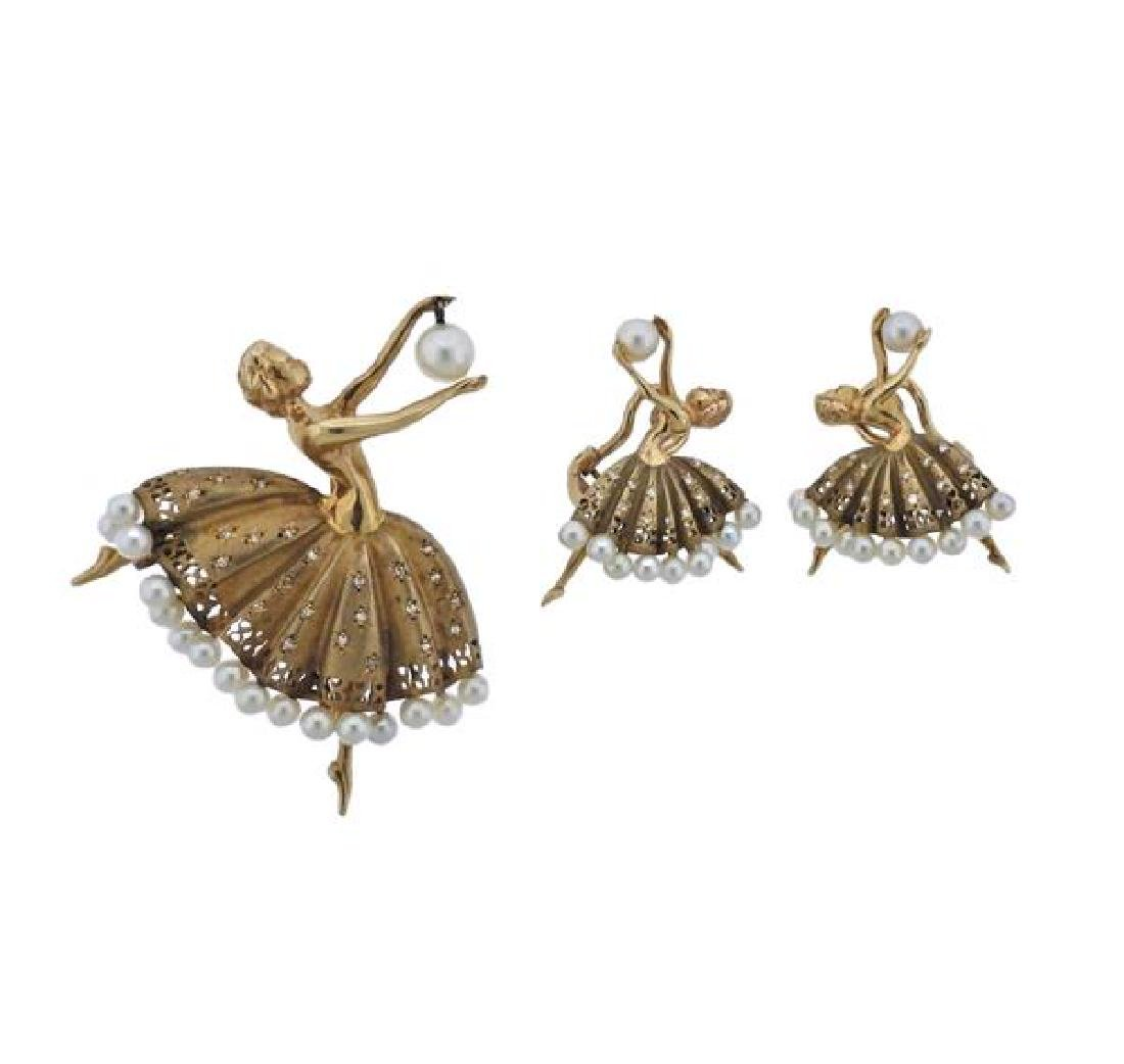 Retro 14k Gold Diamond Pearl Ballerina Brooch Earrings