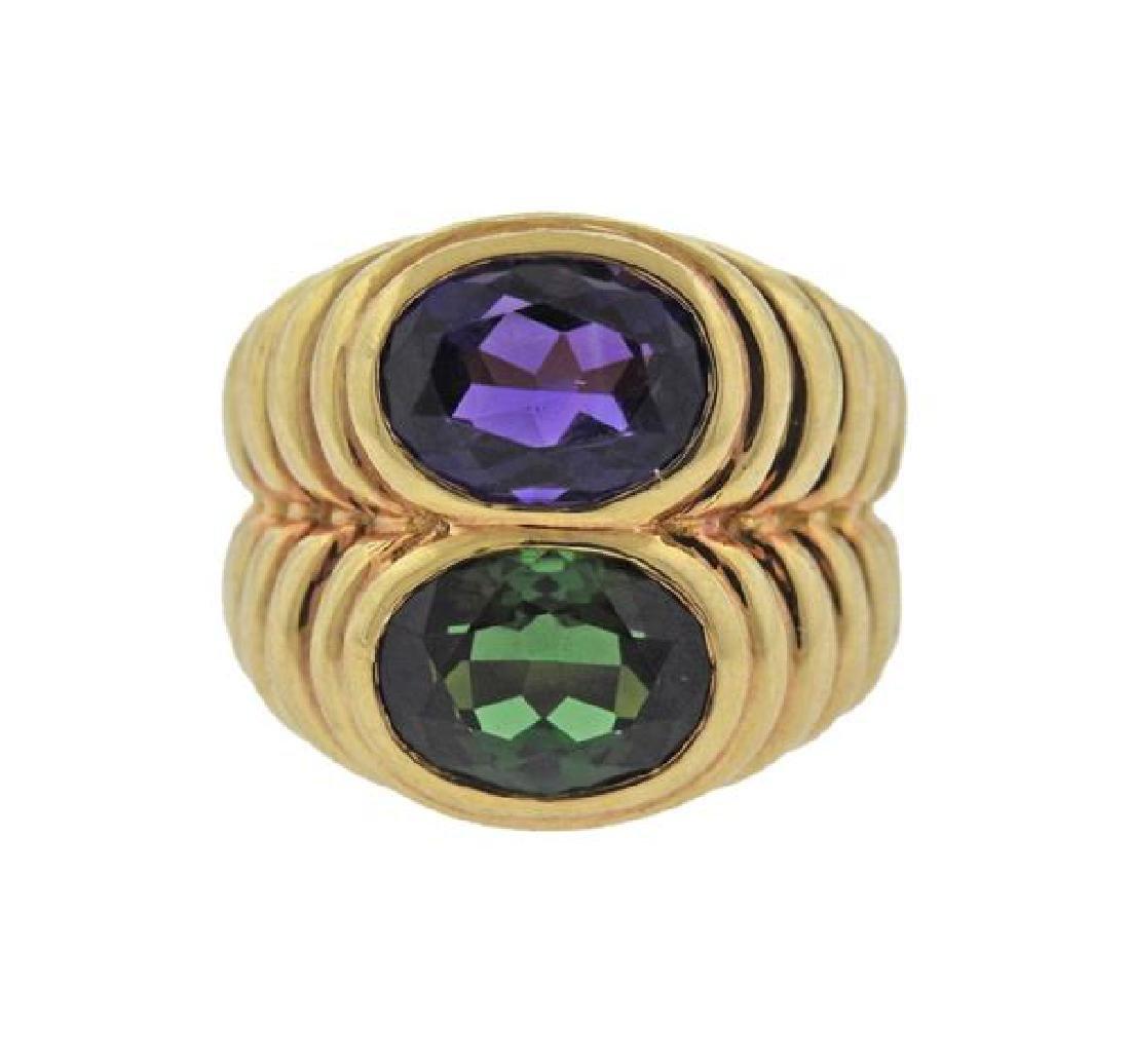 Bvlgari Bulgari Tourmaline Amethyst 18k Gold Ring