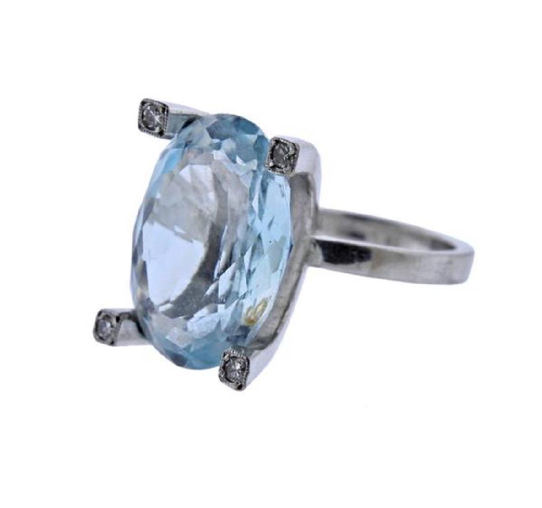 18K Gold 16.5ct Aquamarine Diamond Cocktail Ring
