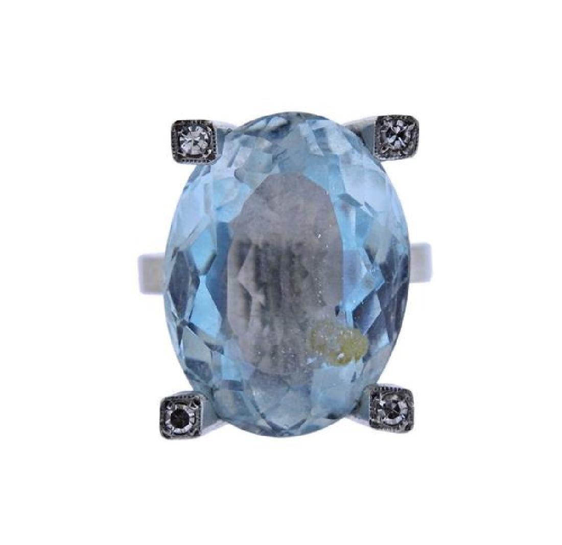 18K Gold 16.5ct Aquamarine Diamond Cocktail Ring - 2